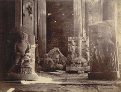 Close view of sculptures (Narasimha and Kalki-avatara) in the pillared hall, Pathari, Bhopal State